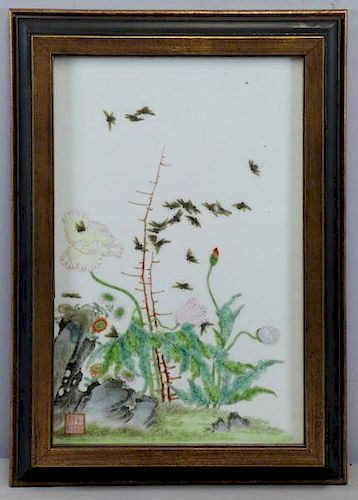 Antique/Vintage Chinese Porcelain Plaque Depicting