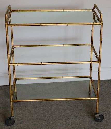 Midcentury Faux Bamboo 3 Tier Bar Cart.