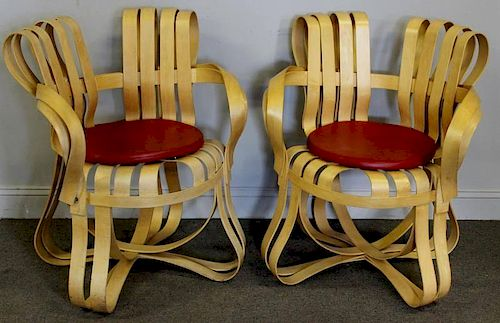 """Midcentury Pair Frank Gehry """"Cross Check"""" Chairs."""
