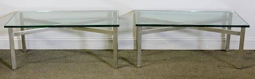 Midcentury Pair of Quality X Base Coffee Tables.