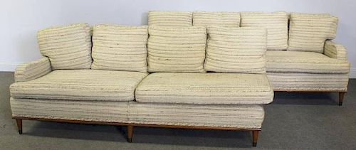 Midcentury 2 Part Sofa with Rounded Arms.