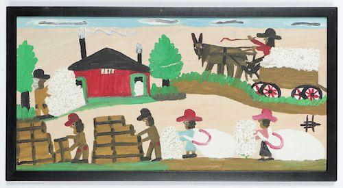 "Clementine Hunter (1886-1988) ""Picking Cotton"""