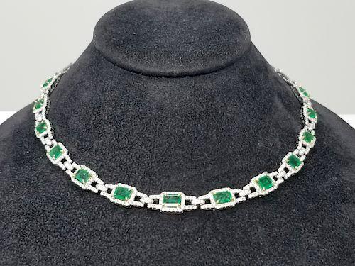 18K White Gold Emerald & Diamond Necklace