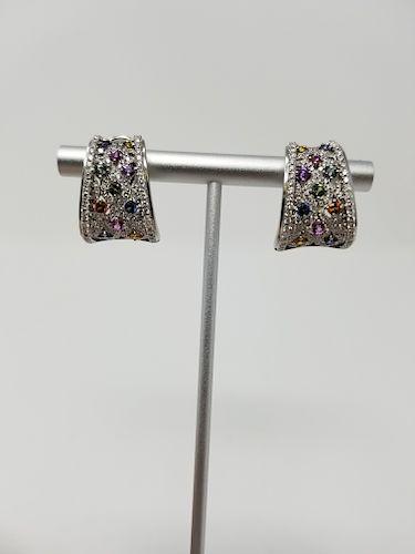 Charles Krypell 18K WG Sapphire & Diamond Earrings