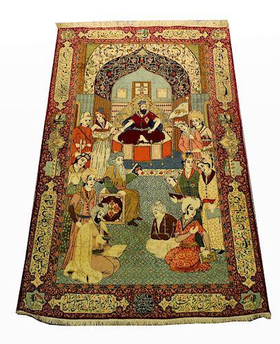 Antique Persian Ferdowsi Poet Mural Rug