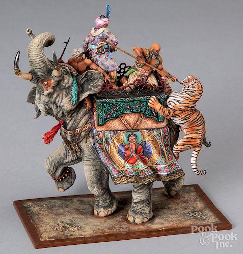 Aero Art Russian miniature elephant with tigers