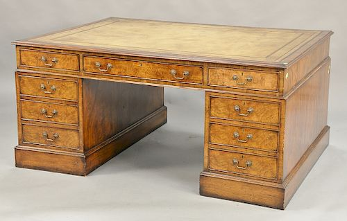 George IV burlwood partner's desk having tooled leather top and custom glass top, 19th century (3 inch chip on bead molding). ht. 32...