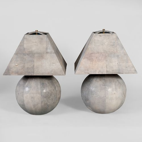 Pair of Karl Springer Shagreen Covered Table Lamps