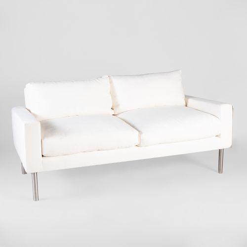De Angelis White Linen Two Seat Upholstered Sofa