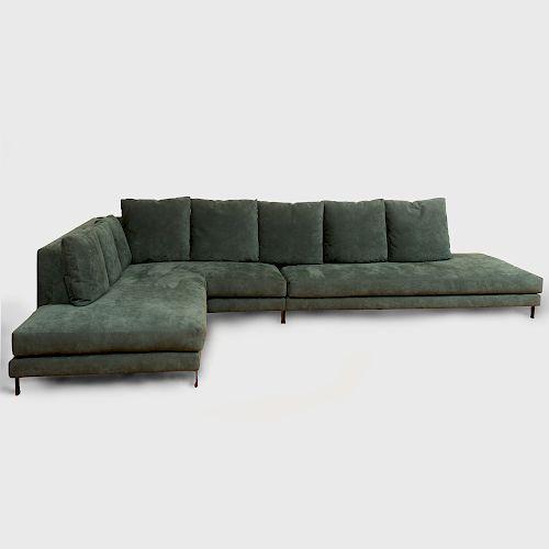 Minotti Green Suede Sofa