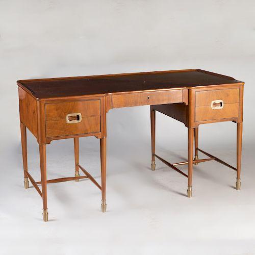Art Deco Style Brass-Mounted Walnut Desk