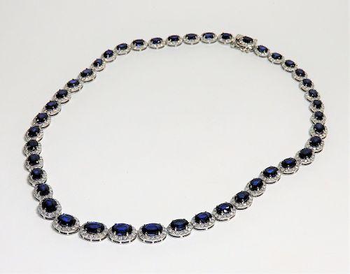 FINE 14K White Gold Sapphire & Diamond Necklace