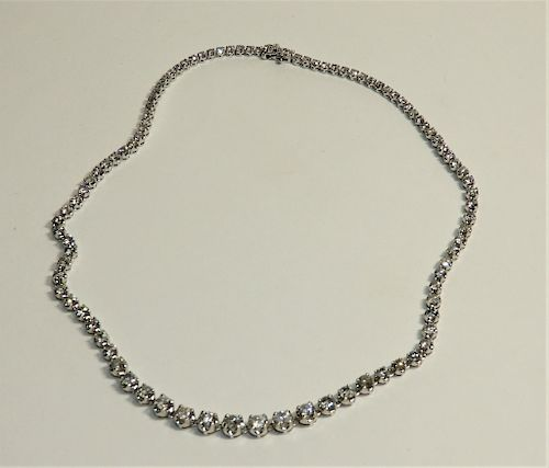 FINE 14K White Gold & Diamond Tennis Necklace