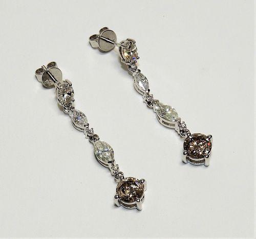 PR Lady's Diamond 18K White Gold Dangle Earrings