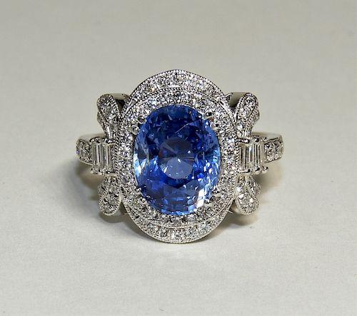 5.21ct Sapphire Diamond & Platinum Lady's Ring
