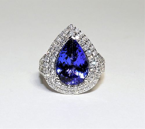 FINE 5.51ct Tanzanite Diamond Platinum Lady's Ring