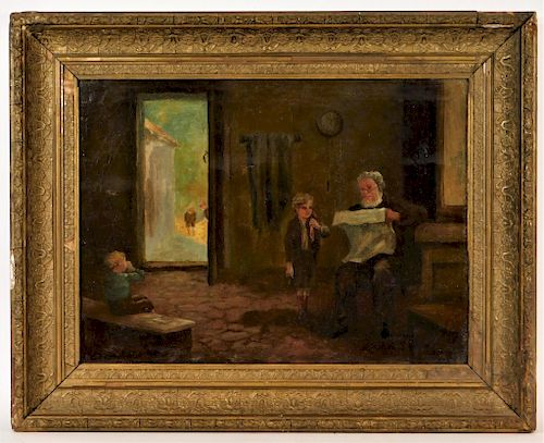 19C American Illuminated Interior Genre Painting by Bruneau & Co