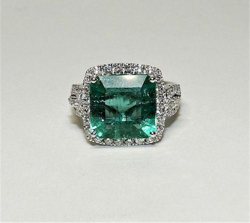 5.22ct Emerald Diamond & Platinum Lady's Ring