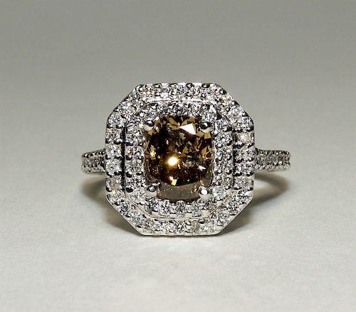 14K White Gold Fancy Yellow Brown Diamond Ring