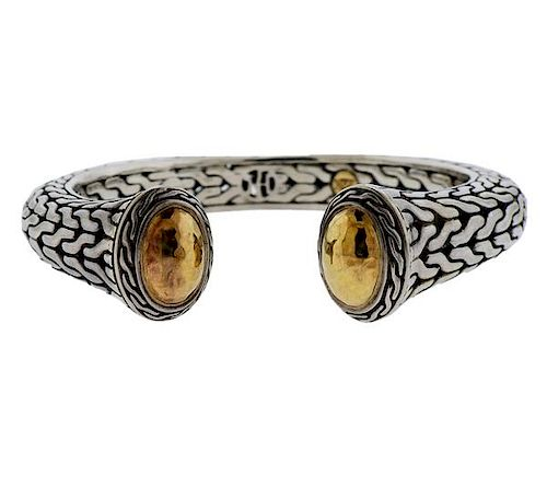 John Hardy 22k Gold Silver Cuff Bracelet