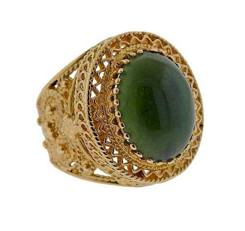 14k Gold Green Stone Ring