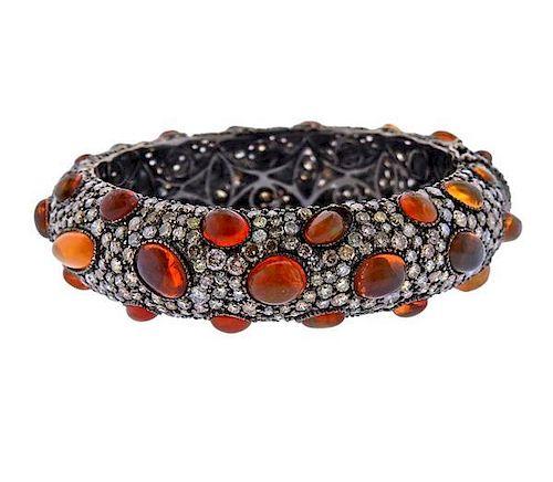 18k Gold Fire Opal 25ctw Diamond Bangle Bracelet