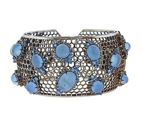 Laura Munder 18k Gold Blue Gemstone Cuff Bracelet