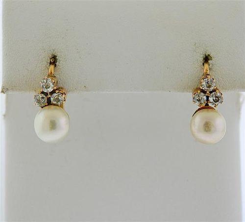 Antique 14k Gold Pearl Diamond Earrings