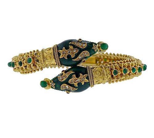 18K Gold Diamond Green Stone Enamel Snake Bracelet