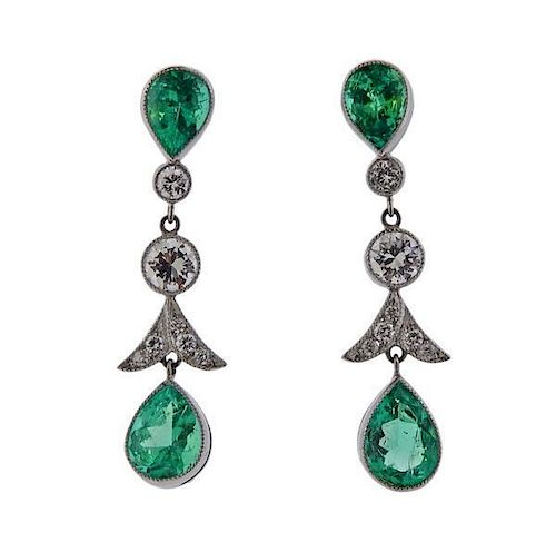 Platinum 3.53ctw Emerald Diamond Earrings