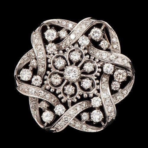 18k White Gold Diamond Brooch/Pendant