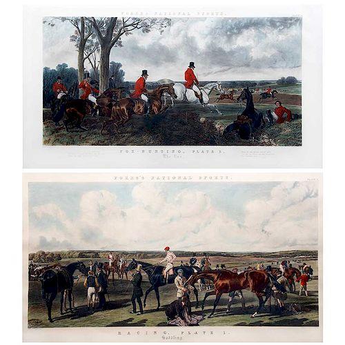 Lote de grabados. Inglaterra, 1852 y 1856 Grabados por Mess Forces. Consta de: Fox - Hunting, plate 3 y Racing, plate 1. Pzs: 2