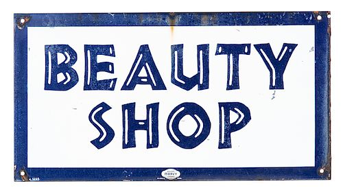 Porcelain Double Sided Marvy Beauty Shop Sign