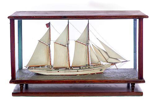 Early 1900s Ship Model Schooner White Way in Glass