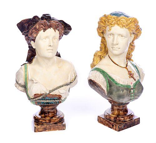 Pair of Rare Majolica Figural Busts