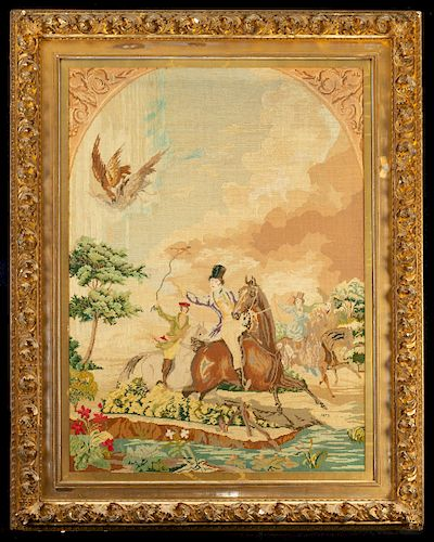 1872 Victorian Needle Point Tapestry in Ornate Frame