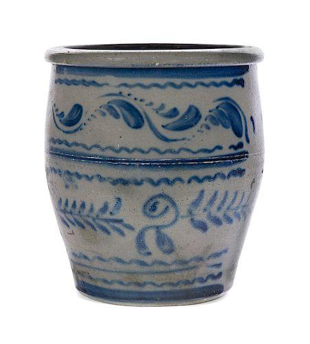 Antique Blue Decorated 2 Gallon Crock
