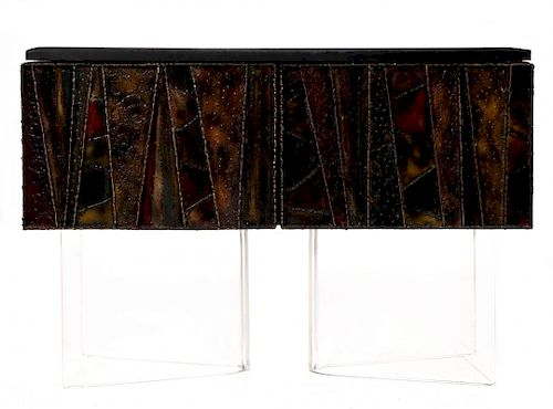 A PAUL EVANS WELDED FRONT CABINET WITH ENAMELS