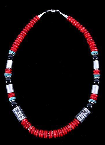 Navajo T&R Singer Discodial Branch Coral Necklace