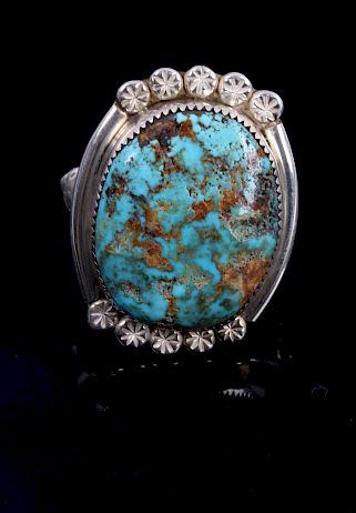 Navajo Bison Skull Signed Sterling Turquoise Ring