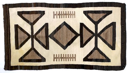 Navajo Toadlena Two Grey Hills Wool Rug C. 1920's