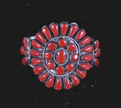 Zuni Petite Point Silver Ox Blood Coral Bracelet