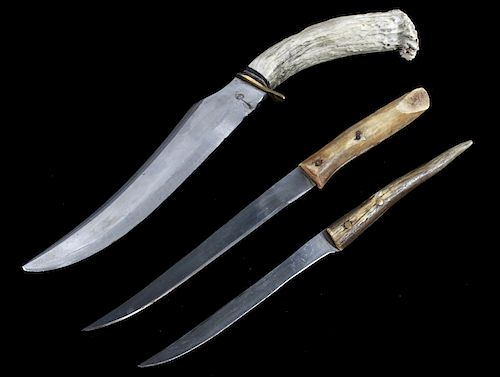 Set of Rustic Antler Handle Knives