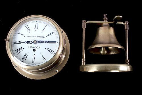 Antique Brass Nautical Clock & Brass Desk Bell