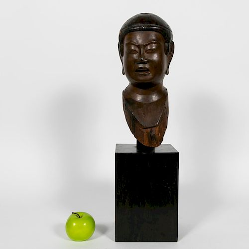 Japanese Carved Wood Buddha Head on Stand