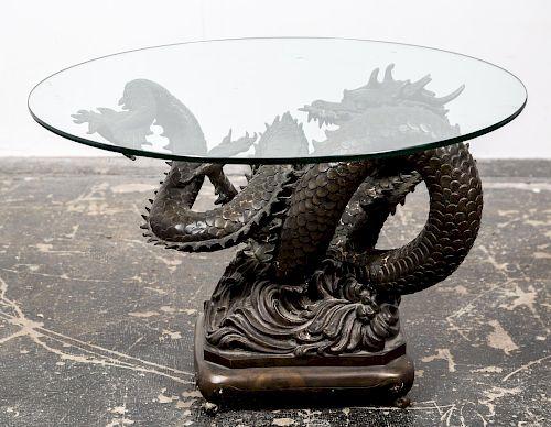 Bronze Dragon Motif Glass Top Table