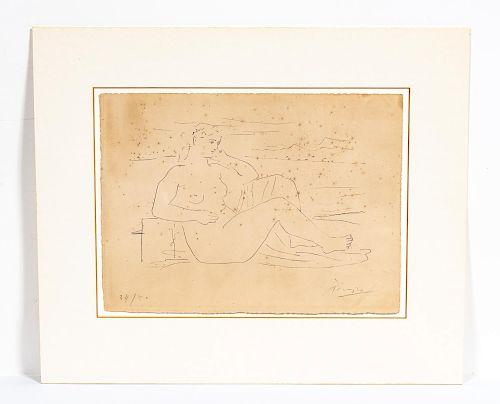 """Picasso """"Femme au Bord de la Mer"""" Signed Litho"""