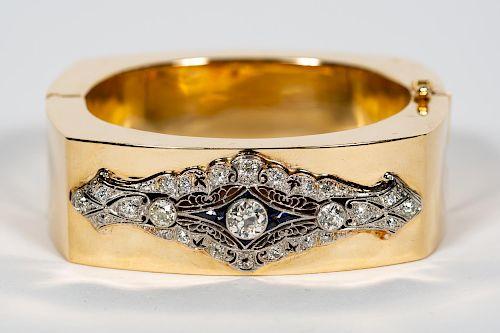 Ladies Diamond 14k Bangle w. 2.15 CT Diamond
