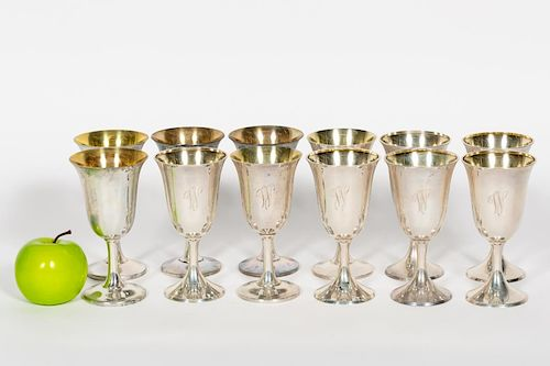 Group of 12 Sterling Silver Goblets With Gold Wash