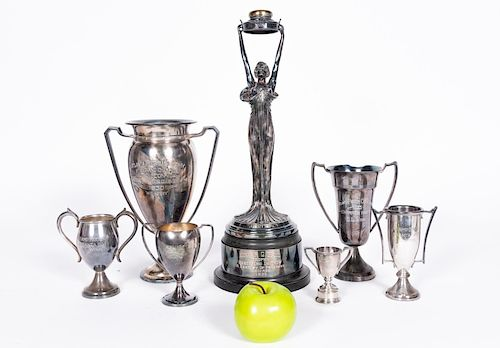 Group of 7, Atlanta Pigeon Silverplate Trophies